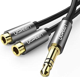 UGREEN Cable Divior de Audio, Duplicador Auriculares 2 Jack a 1, Audio Stereo Splitter en Y, Adaptador Jack 3.5mm Doble Au...