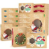 KD KIDPAR 24PCS Christmas Cookie Boxes Large for Gift Giving Packaging Holiday Christmas Food, Bakery Treat Boxes with Window, Candy and Cookie Boxes Size 8.8x6x2.8