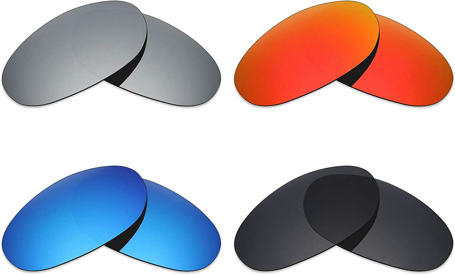 Mryok 4 Pair Polarized Replacement Lenses for Costa Del Mar Fathom Sunglass  Stealth Black Fire Red Ice blueee Silver Titanium