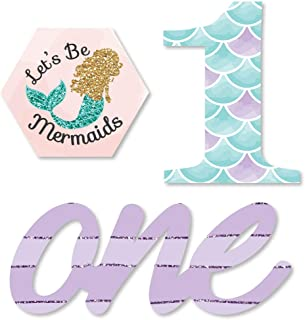 1st Birthday Let's Be Mermaids - DIY Shaped First Birthday Party Cut-Outs - 24 Count