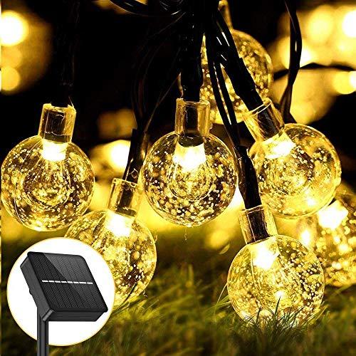Aerb Solar Lichterkette Außen,LED Lichterkette Außen Wasserdicht 30ft 50 LED Lichterkette mit 8 Modi für Weihnachten, Garden, Balkon, Party, Terrasse [Energieklasse A+++][2 Stück] (1 Stück)
