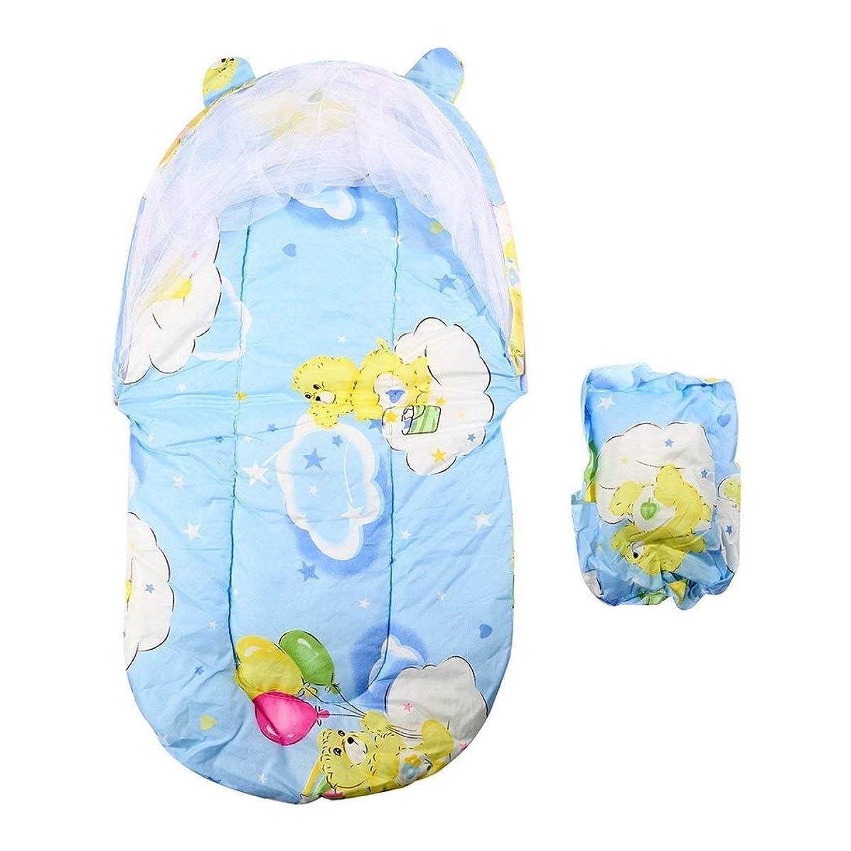 肉腫欲しいです残高Saikogoods 折り畳み式の新しい赤ん坊の綿パッド入りマットレス幼児枕ベッド蚊帳テントはキッズベビーベッドアクセサリーハングドームフロアスタンド 青