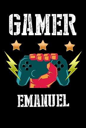 Gamer Emanuel: Kariertes Notizbuch mit 5x5 Karomuster für deinen personalisierten Vornamen