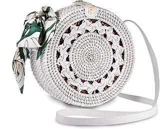 Bali Round Rattan Bag, Xmeng Handmade Round Bali Ata Straw Woven Circle Crossbody Handbag Adjustable strap for Women