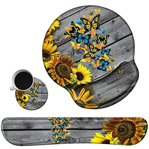Keyboard Wrist Rest Pad and Mouse Pad Wrist Rest Support Set, Ergonomic Gaming Mousepad Durable Smooth Surface Non-Slip Base Sunflower Butterfly Design for Computer Laptop Home Office + Cute Coasters