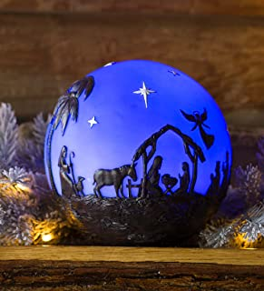 Plow & Hearth Glowing 3D Christmas Nativity Globe - 8-in Diam. - Nativity