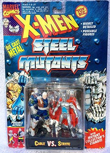 """3"""" Die Cast Metal Cable Vs. Stryfe Action Figures - Marvel Comics X-Men Steel Mutants with Mutant Collector's Stand"""