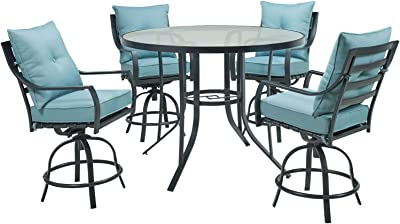 Hanover LAVDN5PCBR-BLU Lavallette 5-Piece Counter-Height Ocean Blue with 4 Swivel Chairs and a 52-in. Round Glass-Top Table Outdoor Dining Set