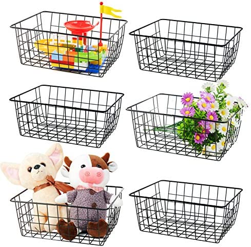 Wire Baskets for Organizing 6 Pack Wire Baskets for Storage Pantry Durable Metal Storage Baskets product image