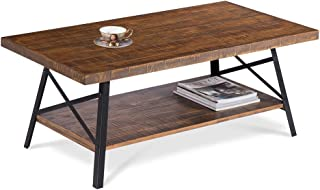 SLEEPLACE SVC18TB01S Terra Cocktail Wood Coffee End Dining Metal Legs/Office Table, Basic Home Decor with Storage Shelf, Brown