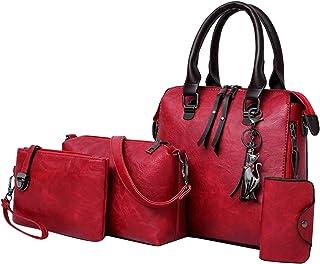 F Fityle Retro Handbag Women Tote Bag Shoulder Crossbody Messenger Bag Satchel 4pcs Purses Set