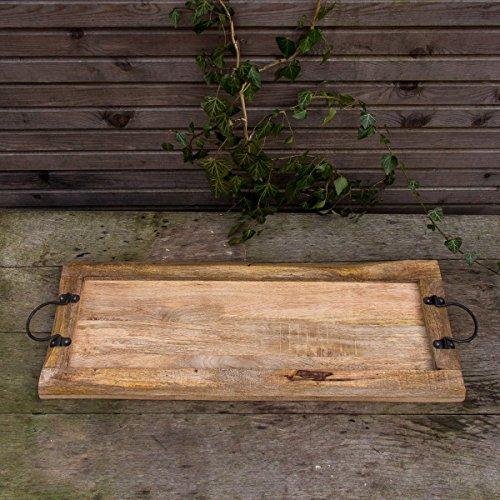 Antikas - Tablett aus Massivholz, Rustikales Servierbrett mit Metallgriff