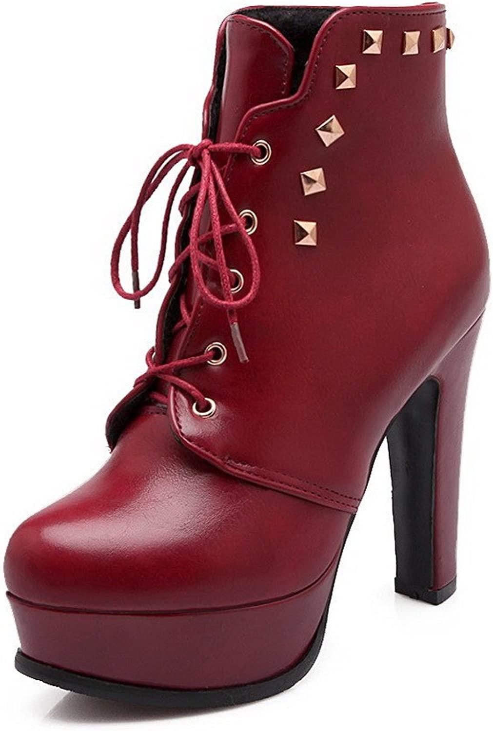 Weenfashion Women's High-Heels Closed Round Toe Nappa Low Top Boots