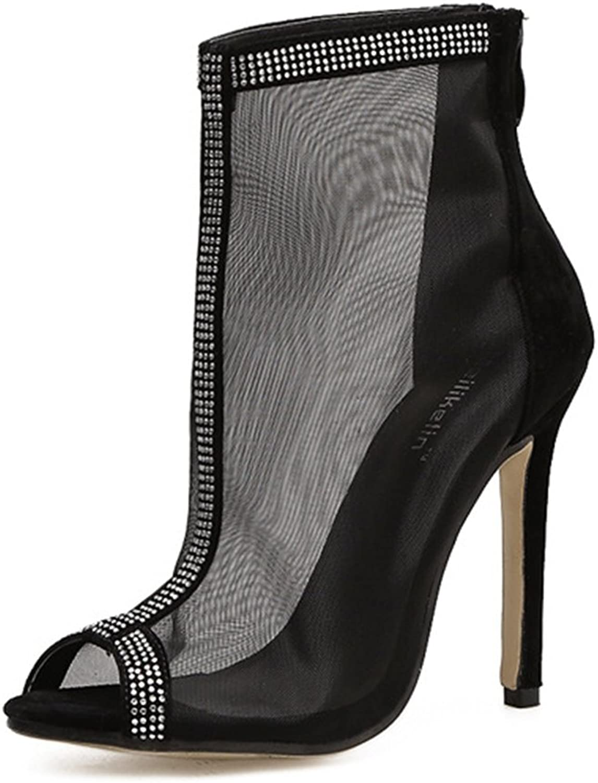 Womens Ankle Strap Clear Heel Peep Toe Perspex Sandals