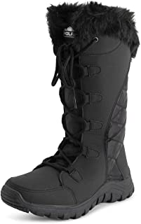 Polar Womens Quilted Lace Up Black Outdoor Snow Rain Duck Boot