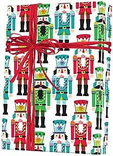 Nutcracker Toy Soldiers Folded Nutcracker Christmas Wrapping Paper, 2 Feet x 10 Feet Folded Christmas Gift Wrap with Nutcracker Soldiers, Made in America, WRAP & Revel® F