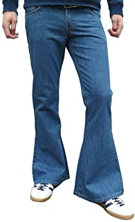 Fuzzdandy Da Uomo Denim a Campana Stile Vintage Retrò Jeans Medio Slavato Blu Tutti i Numeri