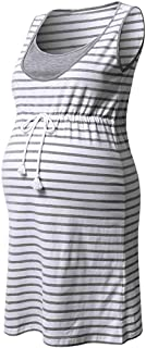 2019 Women Pregnant Maternity Stripe Tunic Breastfeeding Maternity Summer Dress (Size:M, Gray)