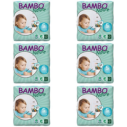 Bambo Nature Eco Windeln, Junior/Größe 5, 12bis 22kg, Prägeset Pro Pack, 6Stück