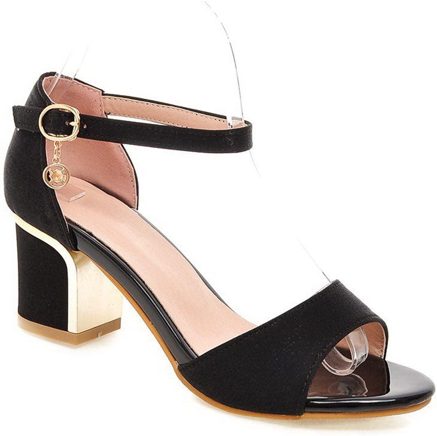 AmoonyFashion Women's Soft Material Buckle Open Toe Kitten-Heels Solid Sandals with Charms