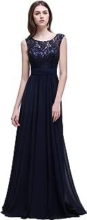 Babyonline Women's Sleeveless Lace Chiffon Long Evening Gowns Bridesmaid Dress