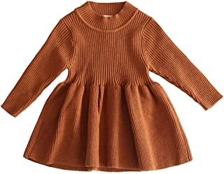 Baby Girls Knit Warm Dresses GoodLock Toddler Kids Solid Sweater Crochet Dress Clothes Outfits