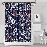 YUYUTE Cortinas de baño Decoración de bañoBath Curtain Boho Floral Navy Shower Curtain Fashion Bathroom Decor for Bathroom,Printing Bath Curtains