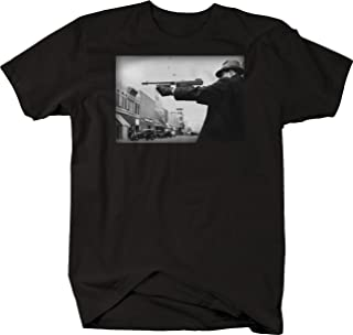 Retro Mobster Gangster Shooting Gun Vintage Street Gang Graphic T Shirt for Men