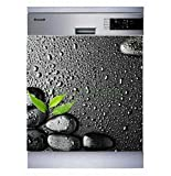 Sticker Cuisine Lave Vaisselle Galets Feuille 60x60cm SLV1103 (Fond Blanc)