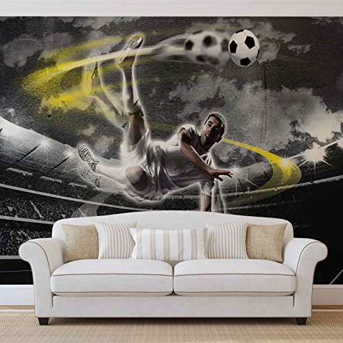 FORWALL Vlies Fototapete Tapete Vliestapete Fußballer in Aktion AF2000VEXL (208cm x 146cm) Photo Wallpaper Mural