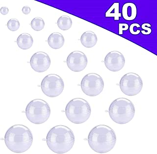 AIVS 20 Set Large Size DIY ABS Plastic Bath Bomb Mold 40 Pieces for Crafting Your Own Fizzles, Clear Plastic Ball Ornaments for Christmas and Party Decorations