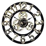Top Race Reloj de pared redondo de 16 pulgadas, diseño de engranajes antiguos de madera hechos a mano en 3D de la vendimia, por Chevy K. (oro con números)