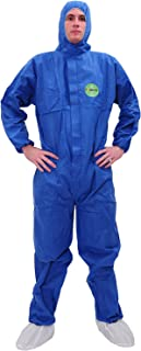 Raygard 30303 SMS Disposable Coveralls Chemical Protective Suit Elastic at Cuffs, Ankles, Hood and Waist Zip Front Serged Seams for Mechanic Work Spray Painting(X-Large, Blue)