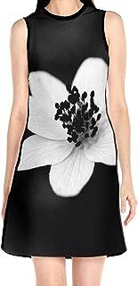 ブラックローズ 花 白い ブラック 花柄ワンピース ワンピース レディース カジュアル 夏物 夏服 スカート おしゃれ 洋服 ファッション 流行る