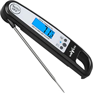 Weicai Instant Read Meat Thermometer - Accurate Ultra-Fast Digital Food/Candy Thermometer with Calibration Function for Cooking, Grilling, Baking and More (LCD Display, Backlight, Waterproof)