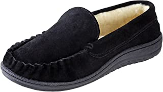 Urban Fox Suede Slippers for Men - Royce Moccasin Slippers Mens Shoes - Faux Fur Coral Fleece Lining - Genuine Suede Leather Slippers