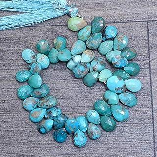 Abalorios Facetados Briolette Turquesa Natural | De piedras preciosas de 10 mm a 12 mm de perlas de pera de 8 pulgadas de ...