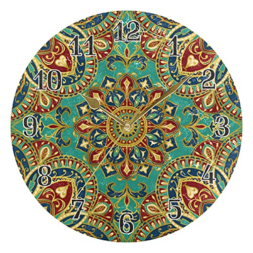 KKAYHA - Reloj de pared con diseño de mandala tribal indio, 25 cm, funciona con pilas, silencioso, no hace tictac, decorativo para dormitorio, hogar, sala de estar, puntero dorado