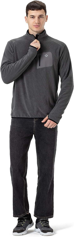 NAVISKIN Herren 1//2 Zip Fleecepullover Thermoshirt warm Laufshirt RV-Brusttasche Herbst Winter Regular fit