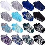 Duufin 16 Pares Calcetines Bebé Antideslizante Tobilleras Calcetines para Niña y Niño, Negro, Azul, Azul Real, Tiras, 1-3 Años