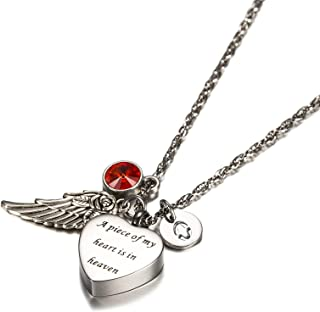 Urns Necklace A Piece of My Heart in Heaven Stainless Steel Heart Urn Necklace with Angel Wing, 26 Letters & 12 Birthstones Creamation Ash Necklace