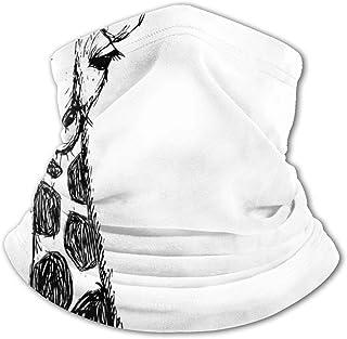 Verctor Pañuelo para la Cara de los niños Blanco y Negro Gráfico Lindo de Safari Jirafa Manchas de Cuello Alto Personaje S...