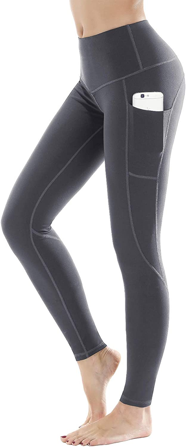 LifeSky High Waist Yoga Pants with Pockets Tummy Control 4 Way Stretch Workout Pants Womens' Active Leggings (9853 Grey, XL)