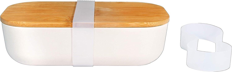 Rayher 46529000-Fiambrera de bambú con Tapa, 20 x 11 x 6 cm, con 2 Anillos de Silicona, Blanco, 20x11x6cm