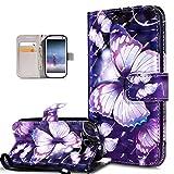 Kompatibel mit Galaxy S3 Hülle,Galaxy S3 Neo Hülle,3D Bunte Gemalte Schmetterlings PU Lederhülle Flip Ständer Wallet Handy Hülle Tasche Handy Tasche Schutzhülle für Galaxy S3/S3 Neo,Lila Schmetterling