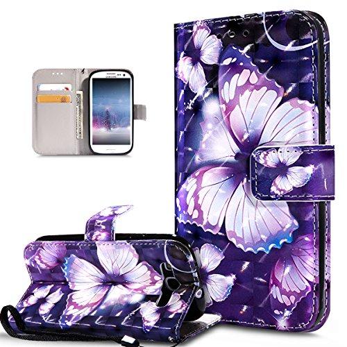 ikasus Coque Galaxy S3/S3 Neo Etui Modèle papillon peint en 3D coloré Housse Cuir PU Housse Etui Coque Portefeuille supporter Flip Case Etui Housse Coque pour Galaxy S3/S3 Neo,Papillon Violet