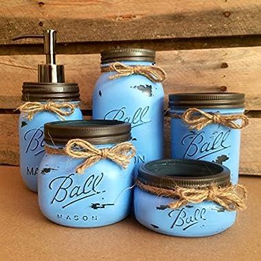 Rustic Denim Blue Mason Jar Bathroom Set, Mason Jar Desk Set, Mason Jar Vanity Set, Mason Jar Office Decor, Blue Farmhouse Mason Jar Decor