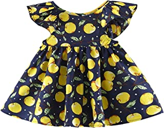 Fairy Baby Toddler Baby Girls Dress Cherry Floral Sundress Ruffle Pleated Beach Wear Outfit