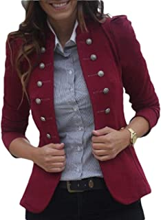 Women Double Breasted Retro Blazer Jacket Overcoat Military Coat