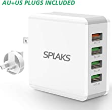 Splaks USB Charger, QC3.0 Universal Wall Mount 4 Port 40W / 5V 8A Power Adapter with iSmart 2.0 Technology Portable Fast and Safe Wall Charger for iPhone, Samsung, LG, Sony, Android-White